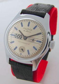 Ruhla de Luxe UMF DDR GDR Herrenuhr kleine Sekunde blau GDR men´s wristwatch