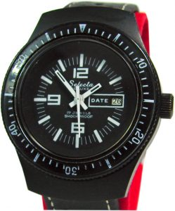 Selecta de Luxe Herrenuhr Datum schwarz skin diver design mens watch 17Jewels