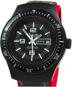 Selecta de Luxe Herrenuhr Datum schwarz skin diver design mens watch 17Jewels