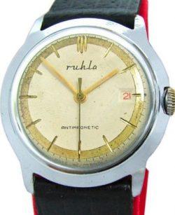 UMF Ruhla Germany Herrenuhr silber schwarz gold Lederband vintage mens watch