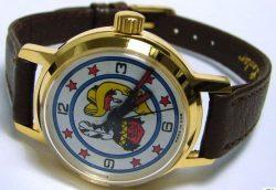 UMF Ruhla Germany Kinderuhr Cowboy Indianer braun gold kids watch Made in GDR