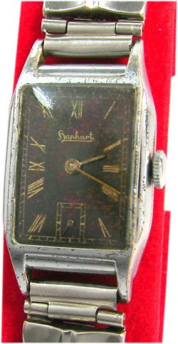 Hanhart Formwerk Herrenuhr Armbanduhr art deco Uhr mechanical mens watch