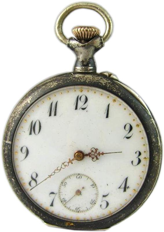 silberne mechanische Taschenuhr antik 0,900 Silber vintage silver pocket watch