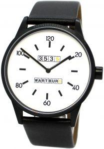 Wartburg Made in Germany Herrenuhr Quarz Edelstahl schwarz weiß Leder Uhrenband 456