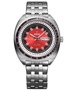 FONDERIA Herrenuhr Quarz Edelstahl Uhrband Tag Datum rot vintage design 41mm