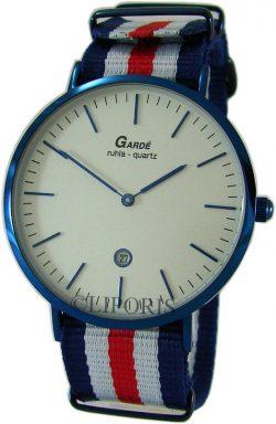 Garde Ruhla Herrenuhr analog Quarz Edelstahl Datum Textilband blau weiß rot