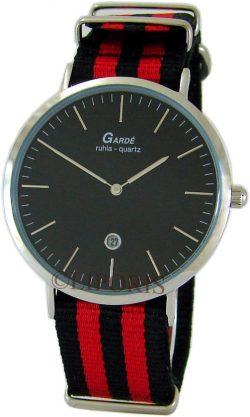 Garde Ruhla Unisex Armbanduhr analog Quarz Edelstahl Textilband rot schwarz