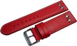 HEKTOR Germany Herren Flieger Uhrenarmband rot Leder Schrauben poliert matt 22mm