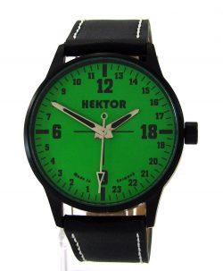 HEKTOR Germany echte 24 Stunden Herrenuhr Lederband schwarz grün 42mm