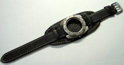 HEKTOR Herren Unterlagen Flieger Uhrband weiches Leder genarbt schwarz 22mm