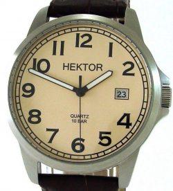 HEKTOR Klassik Sport Edelstahl Herren Quarzuhr Uhrenarmband Leder braun