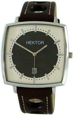 HEKTOR Monitor bicolor große viereckige Edelstahl Quarz Herrenuhr mit Lederband braun