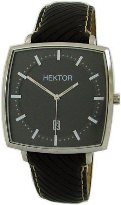HEKTOR Monitor große viereckige Herrenuhr analog Quarz Stahl Lederband schwarz