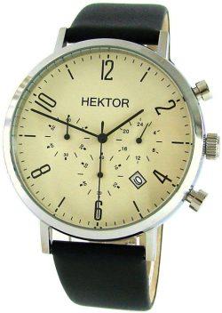 HEKTOR design Herrenuhr Quarz Chronograph creme schwarz Leder Bauhaus Stil 42mm