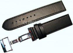 Herren Uhrenarmband dickes Leder schwarz mit Naht Butterfly Faltschließe 22mm