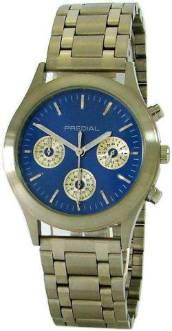 PREDIAL unisex Quarz Chronograph blau silber Edelstahl Gliederband 38mm