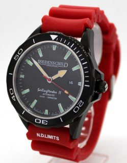 Riedenschild Automatik Taucher Herrenuhr schwarz Silikon Uhrband rot 200m 20ATM