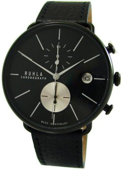 Ruhla Chronograph Herrenuhr Quarz Edelstahl schwarz Lederband Made in Germany