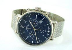 Ruhla Chronograph analog Quarz Herrenuhr blau Bauhaus Stil Milanaiseband 91205M