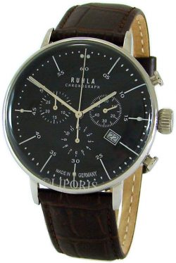 Ruhla Germany Herren Quarz Chronograph analog Lederband braun Stil Bauhaus 42mm