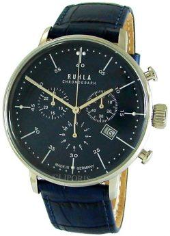 Ruhla Herren Chronograph analog Quarz Lederband blau Stil Bauhaus 91205