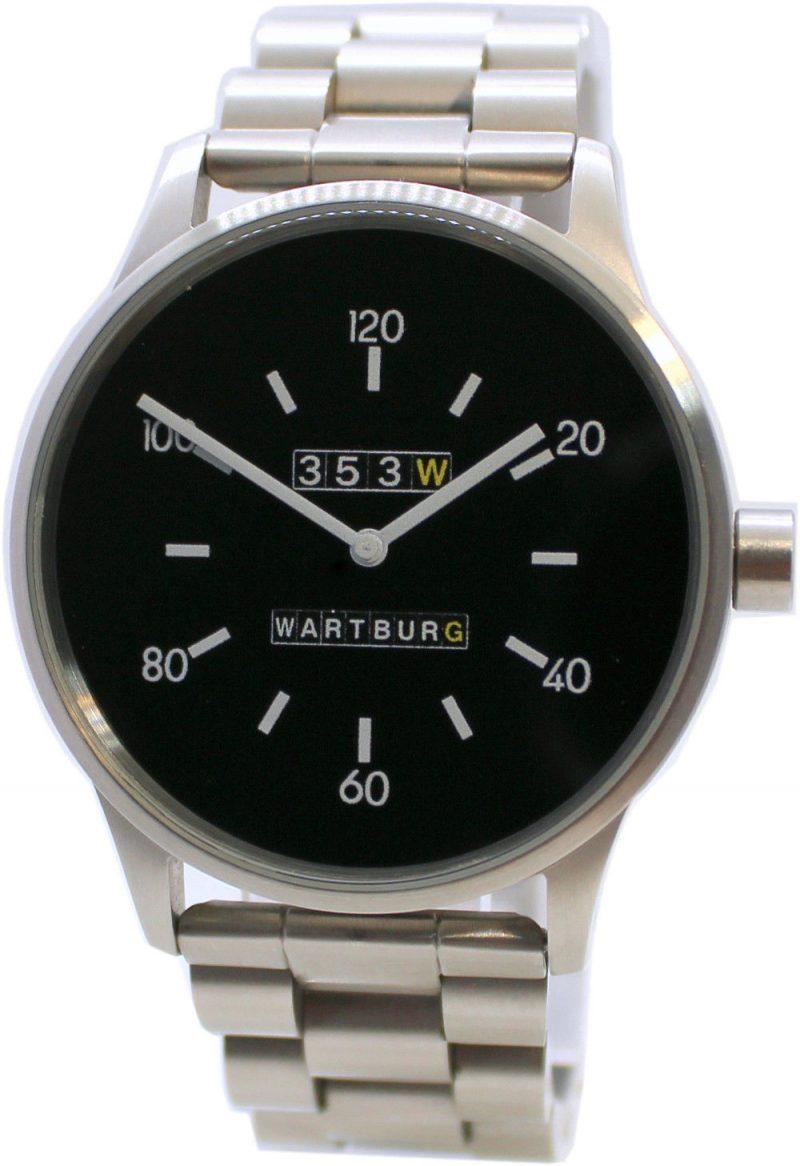 Wartburg 353 Quarz Herren Armbanduhr analog Edelstahl gebürstet Gliederband 42mm