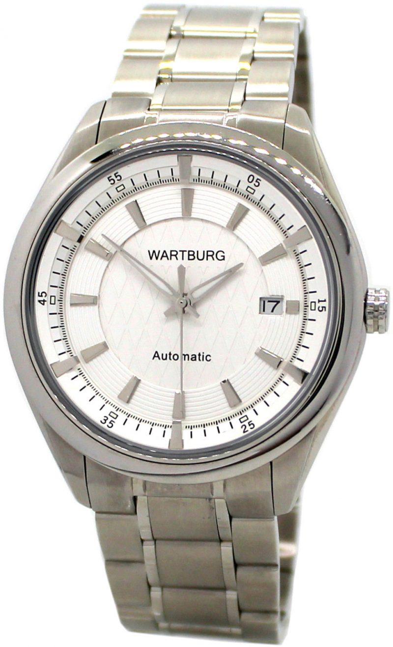 Wartburg 464 Herrenuhr Miyota Automatic Edelstahl Uhrband Datum weiß 5ATM Ø 43mm