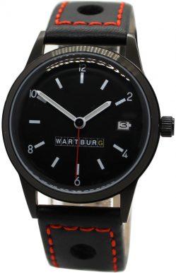 Wartburg 353 Automatik Herrenuhr Rallye Leder Uhrband schwarz Naht rot 38mm