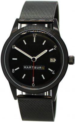 Wartburg 353 Automatik Herrenuhr Datum Milanaise Uhrband schwarz 38mm