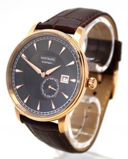 Wartburg Automatic Herrenuhr Stahl rose gold Leder Uhrband braun 21Steine