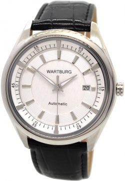 Wartburg Automatic Herrenuhr weiß Edelstahl Lederband schwarz Datum 43mm