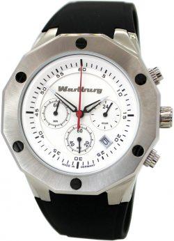 Wartburg Chronograph Herren Armbanduhr Edelstahl Kunststoffband schwarz weiß rot