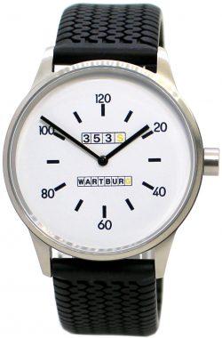 Wartburg Germany Herrenuhr Edelstahl gebürstet weiß Uhrband schwarz Reifenprofil