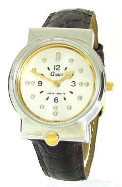 Garde Ruhla Blindenuhr Armbanduhr für Sehbehinderte Lederband braun