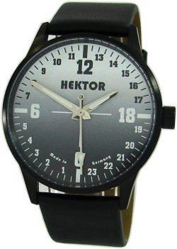 HEKTOR 24h Germany echte 24 Stunden Herrenuhr analog Quarz schwarz Lederband