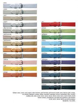HEKTOR Leder Uhrenarmband glatt mit Verlauf verschiedene Farben lieferbar von 8mm bis 40mm Bandanstoß