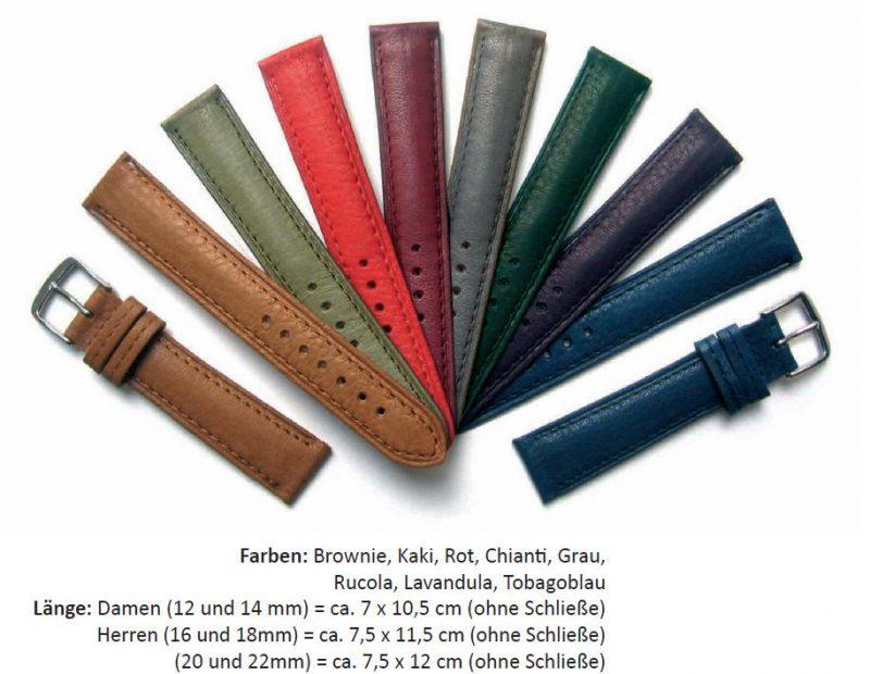 HEKTOR Uhrenarmband Leder pflanzlich gegerbt verschiedene Farben lieferbar von 12mm bis 22mm Bandanstoß