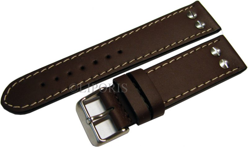 HEKTOR Flieger Herren Uhrenband Leder dunkel braun Schrauben poliert matt 22mm