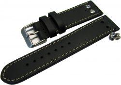 HEKTOR Germany Herren Flieger Uhrband Leder schwarz Schrauben poliert matt