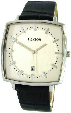 HEKTOR Monitor Herrenuhr Quarz Datum weiß Lederband schwarz Edelstahl XL
