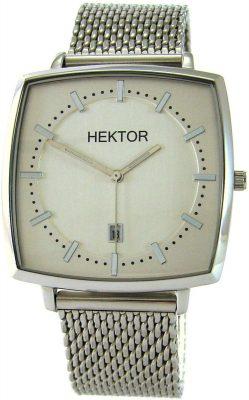 HEKTOR Monitor elegante Herrenuhr Quarz Edelstahl Datum Milanaiseband silber