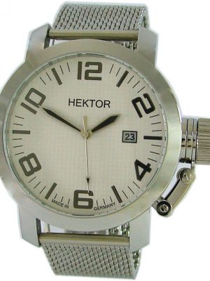 HEKTOR U Germany Herrenuhr Quarz XL 45mm Milanaiseband Kronen