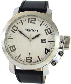 HEKTOR U Herrenuhr Quarz weiß Leder schwarz Datum Made in Germany XL 10bar 45mm