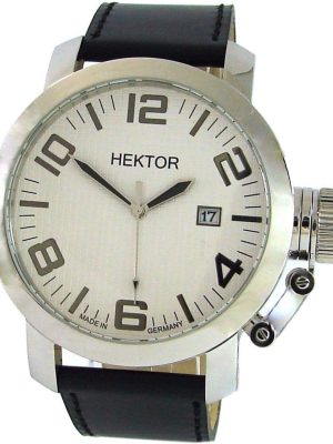 HEKTOR U Herrenuhr Quarz weiß Leder schwarz Datum Made in Germany XL 10bar 45mm