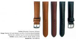 HEKTOR Uhrenarmband LANG Leder pflanzlich gegerbt verschiedene Farben lieferbar von 12mm bis 22mm Bandanstoß