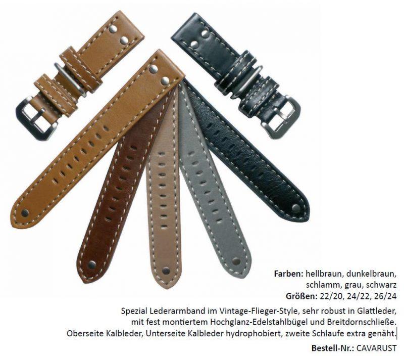 HEKTOR Vintage-Flieger-Style Uhrenarmband Kalbsleder verschiedene Farben lieferbar von 22mm bis 26mm Bandanstoß
