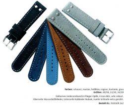 HEKTOR Wasserbüffel Lederarmband in Flieger-Optik verschiedene Farben lieferbar von 20mm bis 24mm Bandanstoß