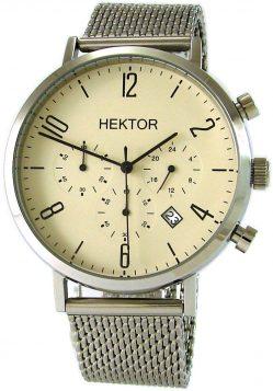HEKTOR design Herrenuhr Quarz Chronochraph Milanaiseband Datum Bauhaus Stil 42mm