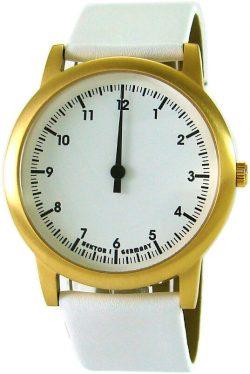 HEKTOR eins Germany Einzeigeruhr Unisex Quarz Edelstahl IP gold Lederband weiß