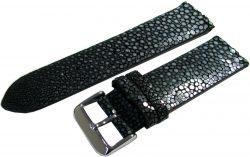Herren Uhrenarmband Perl Roche Leder schwarz